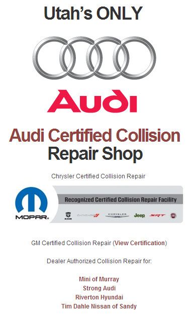 We Are Utah S Only Audi Certified Collision Repair Shop Dave S